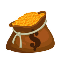 golden coins in sack bag full money vector image