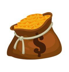 Golden coins in sack bag full money vector