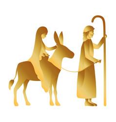 Golden joseph and mary virgin in mule manger vector