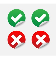 Green Check Mark and Red Cross in two variants vector