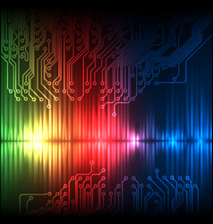 green-red-blue wave abstract equalizer and circuit vector image