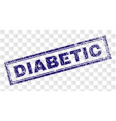 Grunge diabetic rectangle stamp vector