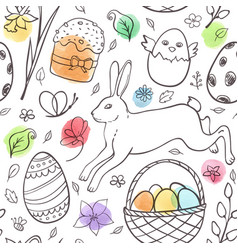 hand drawn easter pattern with rabbit vector image