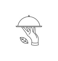 hand food plate logo icon line outline monoline vector image