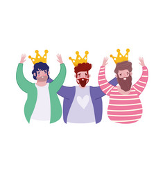 happy fathers day group men with crown decoration vector image