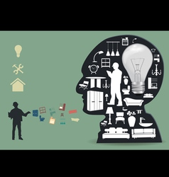 Home appliances icons in a male head vector image