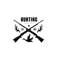Hunting Vintage Emblem with Horns and Guns vector image vector image