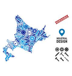 Industrial hokkaido island map collage vector