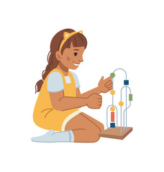 Kindergarten girl playing with toys education vector