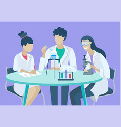Lab research or chemical experiment scientists vector