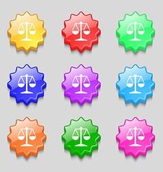 Libra icon sign symbol on nine wavy colourful vector