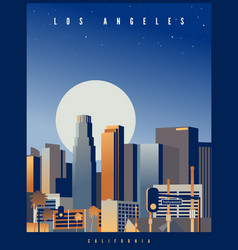 los angeles skyline with big full moon usa vector image