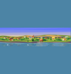 lovely small town flat cartoon landscape vector image