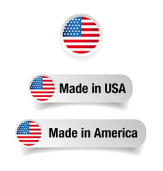Made in usa label set vector