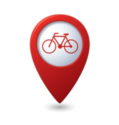 Map pointer with bicycle icon vector