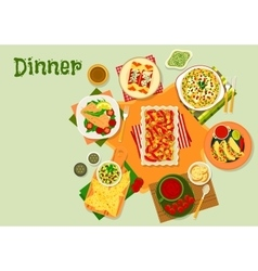 Mexican cuisine dinner dishes icon for menu design vector