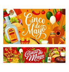 mexican guitar cactus food cinco de mayo party vector image