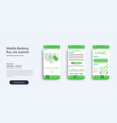 mobile app infographic template with vector image