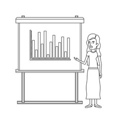 Monochrome silhouette of businesswoman with long vector