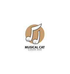 Musical cat logo design inspiration vector