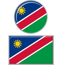 Namibian round and square icon flag vector