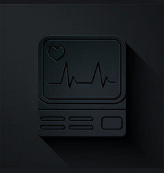 paper cut computer monitor with cardiogram icon vector image