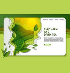 paper cut green tea landing page website vector image