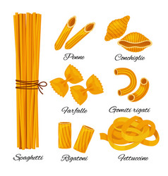 pasta cartoon set isolated on white background vector image
