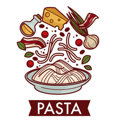 Pasta with cheese and bacon culinary recipe vector