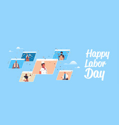 people different occupations celebrating labor vector image