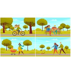 people on walk in city park scenes set mother vector image