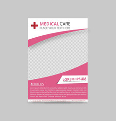 pink and white curves medical flyer layout vector image