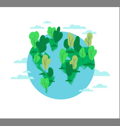 planet earth with green trees isolated vector image