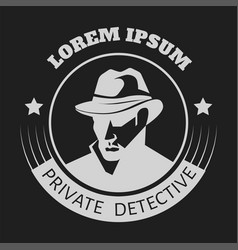 Private detective logo man in hat vector