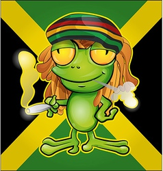 Rastafarian frog cartoon on jamaican flag vector image