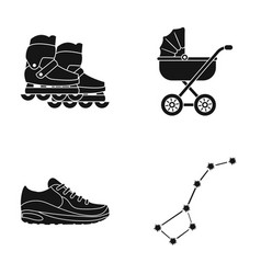 rollers stroller and other web icon in black vector image