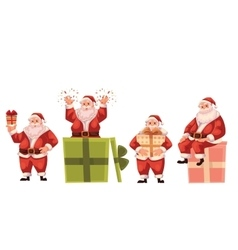 Santa Claus holding popping out of and sitting on vector