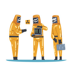 Scientists in protective suits working with vector