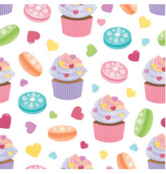 Seamless pattern with colorful cucakes cookies 17 vector