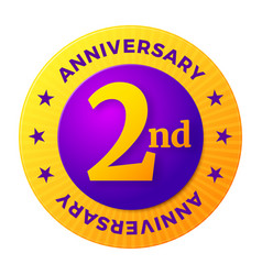 Second anniversary badge gold celebration label vector
