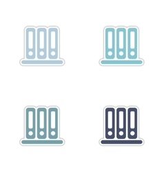 Set of paper stickers on white background folders vector image