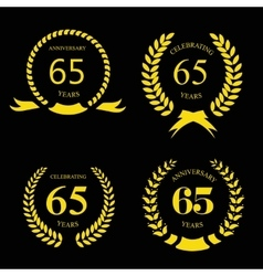 Sixty five years Anniversary laurel golden label vector