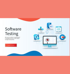 Software testing concept computer with magnifying vector