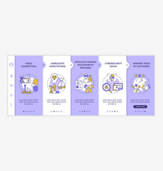 Startup launch risks onboarding template vector