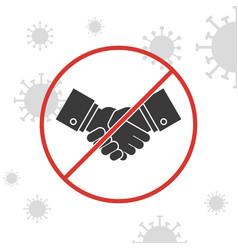 Stop handshake sign with coronavirus background vector