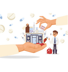 Storefronts pharmacy in big hand vector