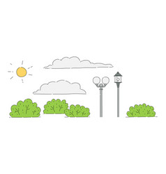 summer park object drawing set - sun and clouds vector image