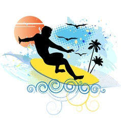 Surfing on tropical island vector