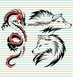 tribal dragon and wolf vector image