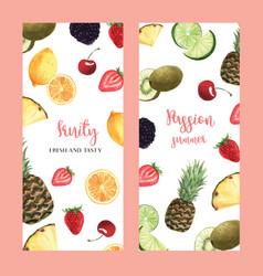 Tropical fruits menu design passionfruit summer vector
